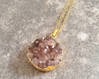 Brown Druzy Necklace / Druzy Necklace / Druzy Jewelry / Brown Necklace / Round Druzy Pendant / Layering Necklace / Layered Necklace