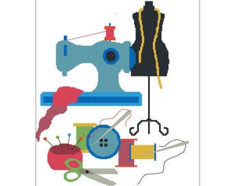 Sewing Tools Counted Cross Stitch Pattern: Instant PDF Download