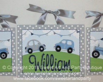 Transportation, Art for Boys Room, Canvas name sign, Personalized, Nursery wall art, nursery monogram, Blue Gray, Cars, Tractor, Jeep, decor