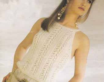 Womens sleeveless top vintage knitting pattern top sweater pdf INSTANT download pattern only pdf