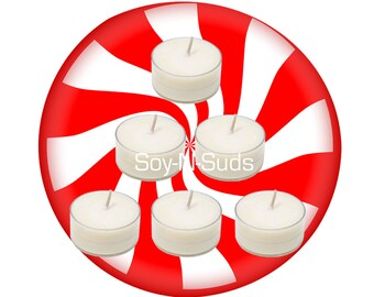 Soy Tea Lights, Soy Candles, PEPPERMINT, Dye Free, T Lites, Candles, 6 Pack, White Candles, Scented