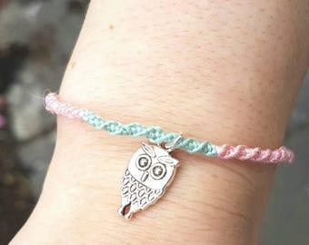 Handmade owl friendship bracelet embroidery floss bracelet gift