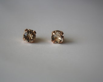 Swarovski Earrings, Rose Gold Plated , Prong Set Light Silk Crystal Studs