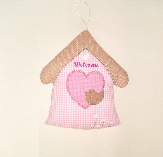 Baby Door Hanger,  Welcome Room Decor, House Pillow for Girls - Room decor and soft toy for children - baby shower gift - HET