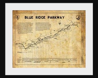 Blue Ridge Mountains Highway Map Print Poster Sepia