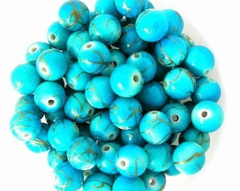 45 turquoise and gold swirled beads, 10mm acrylic round blue drizzled beads
