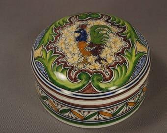 COIMBRA-Portugal Hand-Painted Ceramic Trinket Box#30912-Signed Reinaloo