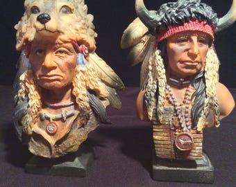Wolf Spirit-- Bull Chief--Native American Indian Figurines-Home Decor--Native American Art