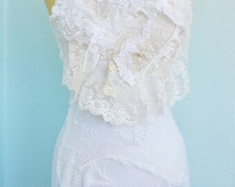 Shabby Chic Embellished Tank Top with Vintage Lace, Size Medium, White Ruffles