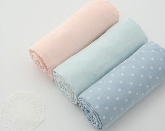 Dots Double Cotton Gauze Fabric by Yard - 3 Colors Selection