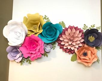 Bonus +1 Paper Flower Bundle - 3 (Now 4) Different Flower Petal Templates & Leaves Template SVG, PNG, JPG for Cricut Design Space