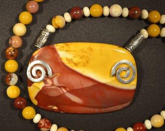 N76 moukaite silver spiral statement necklace
