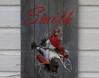 Holiday Wood Pallet Sign -Cardinals with Last name Sign with snow branches Christmas decor