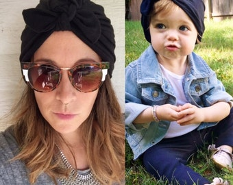 Mommy & Me Set - Black Turban hat w bow