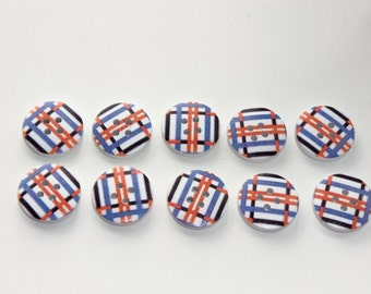 10 x 20mm Wooden Buttons 4 Hole Floral Abstract Stripes Design