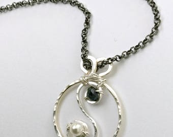 Sterling Silver Hammered Wire Wrapped Yin Yang Necklace - Gifted to the stylist of The Goldbergs