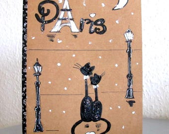 Carnet illustration Les chats Paris  - Carnet Fait Main - Carnet peint à la main