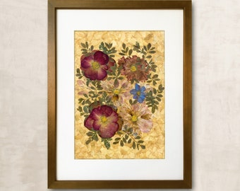 Rose In Frame Dried Flowers Dried Flowers Gift Wall Decor Pressed Flowers Art Framed Flowers Dried Flower Art Gift For Her Pressed FlowerArt