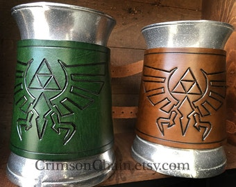 Legend of Zelda Triforce Mug - by Crimson Chain leatherworks - SCA Larp Renactment Garb Costume Geek PopCulture