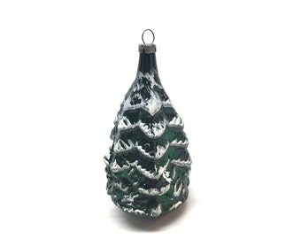 Antique Christmas Ornament,Tree,Frosted Winter Tree, Blown Glass, Mercury Glass, c1940