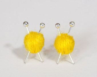 Yellow Wool knitting earrings - yarn ball and needles
