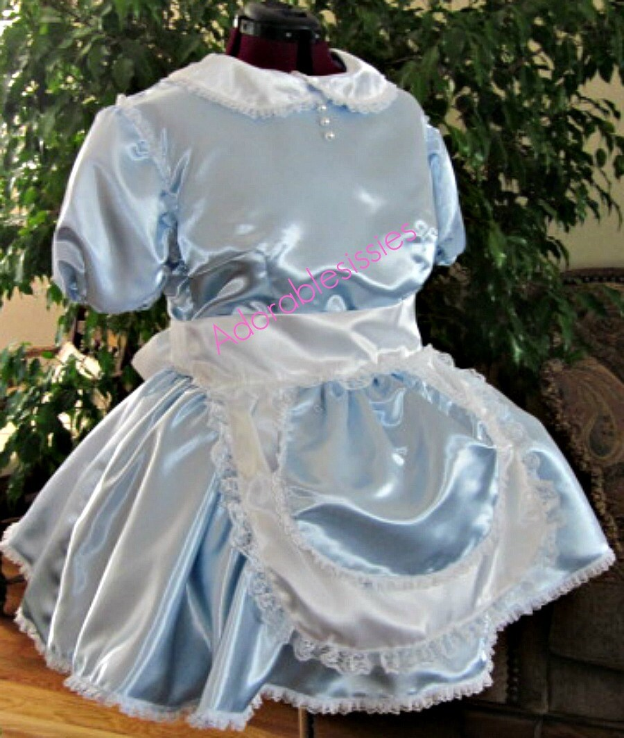 Sissy Maid Dress in Baby Blue Satin with White apron trimmed