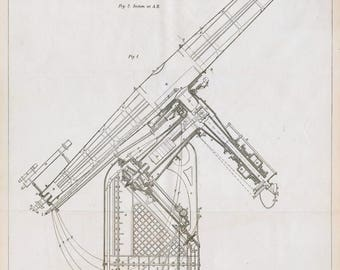 1880 Large Double Page Antique Blueprint / Technical drawing of Refracting Telescope - 27-inch Refracting Equatorial Telescope - Stargazing