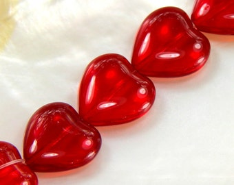 Red Heart Beads, Glass Heart Beads, Transparent Red Heart Beads, Puffed Red Heart Shaped Beads, 16x15mm Heart Shaped Beads, 12 Pieces