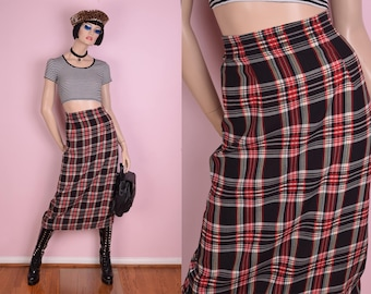 90s Plaid High Waisted Skirt/ 26 Waist/ 1990s