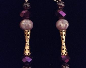Purple Gold Fancy Beaded Drop Swing Earrings