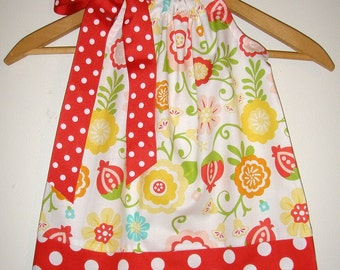 dress Strawberry and FLowers pillowcase dress  3,6,9,12,18, months ,2t,3t,4t,5t,6,7,8,10,12