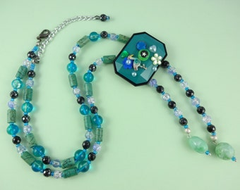 Teal Collage Necklace - unusual beaded necklace in green blue turquoise with hand embellished rectangular focal bead - boho bohemian folk