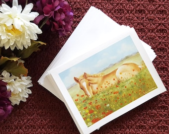 8 Note Card Set Blank Inside With Envelope Foal Horse Art  Note Cards Handmade NoteCards Blank Cards