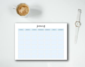 Monthly planner printable - Monthly calendar - Desk pad calendar - Monthly agenda - Desk planner - Student planner - Undated planner