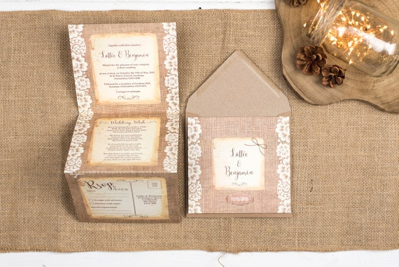 Rustic Wedding Invitation - Double-Folded Burlap And Lace (portrait)