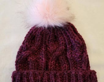 Wool/Alpaca Cable Hat with Faux Fur Pom Pom