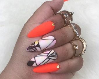 Summer Press on Nails | Orange Nails | Watercolor Nails | Gold Nails | Highlighter Nails | Bright Orange Nails | Spring Nails | Fake Nails