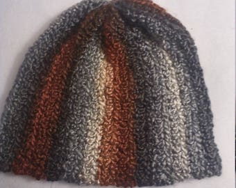 half price stocking hat in shades of grey and brown
