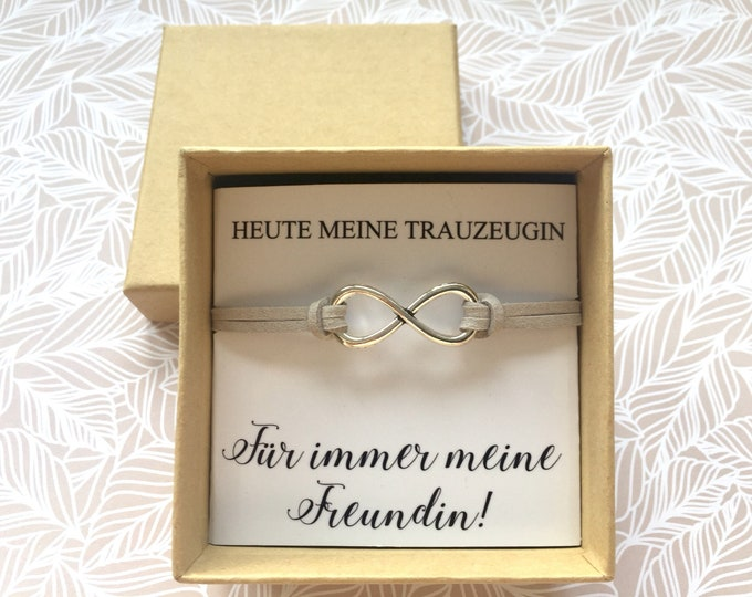 Gift for the wedding witness bracelet infinity in gift box