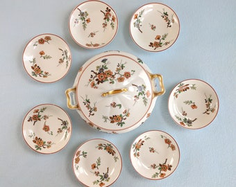Haviland Limoges porcelain, covered tureen & 7 small serving bowls, hand painted Normandy pattern, 1889-1931