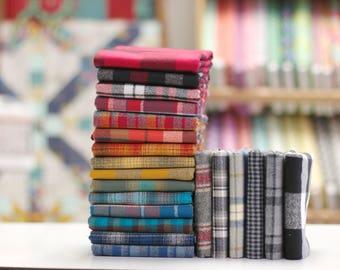 Mammoth Flannel (Plaid) - Fat Quarter Fabric Bundle - 21 woven plaids