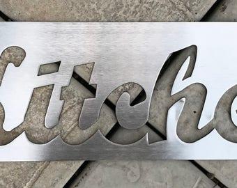 Stainless Steel Kitchen Sign