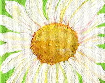 Shasta Daisy mini painting Lime Green Original on canvas, little easel, miniature painting 4 x 4 daisies daisy decor, mini canvas art