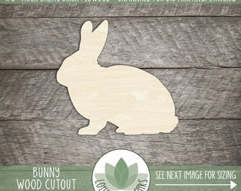 Wood Bunny Shape, Unfinished Wood Bunny Rabbit Laser Cut Shape, DIY Craft Supply, Many Size Options, Blank Wood Shapes