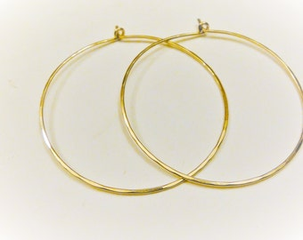 2 PC., 14K gold filled hoops, gold filled hammered  hoop earrings, 50mm gold hoop earrings,