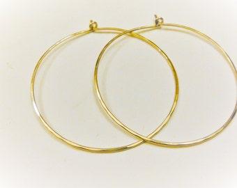 2 PC., 14K gold filled hoops, gold filled hammered  hoop earrings, 50mm gold hoop earrings,