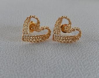 Heart Earrings, Lacy Earrings, Pierced Earrings, Gift for Her