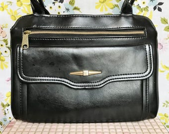 Vintage retro black leather shoulder bag