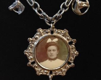 Photo and Horse Necklace, Antique Photo, Antique Horse Charms, Black Beauty Antique Assemblage