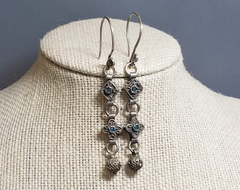 Ethnic Earrings Long Earrings Silver Earrings Bohemian Earrings Boho Chic Earrings Upcycled Earrings